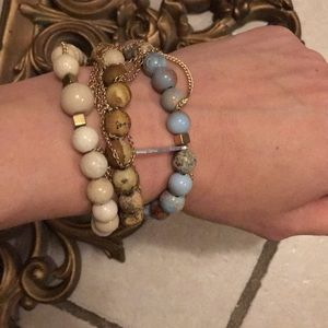 Bracelets; real stones and gold plated chains